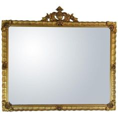 Antique Gilded Crested Wooden Wall Mirror ($299) ❤ liked on Polyvore featuring home, home decor, mirrors, antique home decor, rectangle wall mirror, floral mirror, antique mirrors and antique gold wall mirror