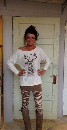 Love me like Deer Season, Brown Zebra Leggings