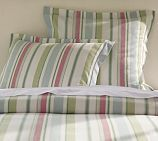 Darien Stripe Duvet Cover in Coral
