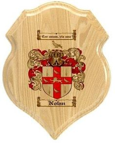 $34.99 Nolan Family Crest Plaque / Coat of Arms Plaque.  at www.4crests.com - Your family coat of arms on a thick, beveled edge 12 inch oak plaque.  Manufactured by: Family Crests Store Merchant SKU: nolan:plaque Thick Oak Family Crest Wall Plaque Great gift for anyone Family coat of arms / family crest printed in full color A great item for genealogy enthusiasts Hang on your home or office wall