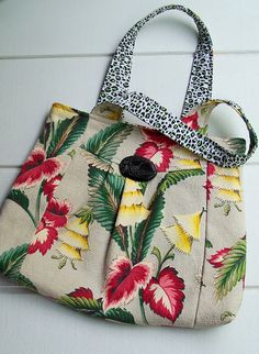 Handmade Vintage Barkcloth Shoulder Bag by fortheloveofpete, via Flickr