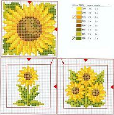3 lovely Sunflower squares