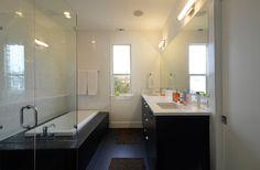 Barton Skyline #2   Modern Home | Modern Bathroom | Open Shower | Black & White Bathroom | Austin Homes | http://www.riversidehomesaustin.com/
