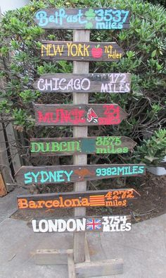 A garden or yard decoration your guests are sure to remember! This custom made piece includes your favorite travel destinations (or the places on your to do li