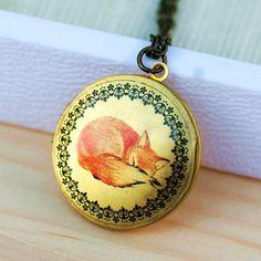 Sleepy Fox,Locket,Photo Locket,Red Fox Locket, photo, Image,Round, Brass,Locket,Necklace,pendant