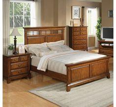 Zahara King Panel Bed in Medium Oak
