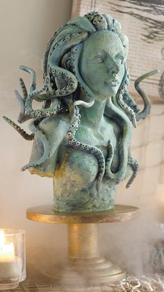 Is she beautiful and enchanting, or simply stone cold scary? Our Octopus Witch Decor is seductive, either way, which makes her an intriguing tabletop display. With 360° detailing, she is crafted entirely from resin; her base, painted to resemble antiqued brass; her bust, painted to appear oxidized from years in the salty air. Don't get caught staring. Steampunk Bathroom Decor, Scary Mermaid, Macabre Decor, Steampunk Interior, Wiccan Decor, Halloween Entertaining, Mermaid Bedroom, Sea Witch, Witch House