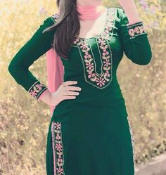 Bottle green cotton suit with pink embroidery Punjabi Suit Boutique, Punjabi Suits Designer Boutique, Boutique Suits, Pakistani Dresses, Indian Dresses, Indian Outfits, Embroidery Suits Punjabi, Embroidery Suits Design, Embroidery Designs