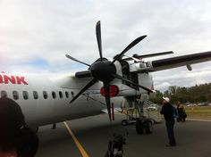 Didn't get to go for a $50 joyride in this one (all proceeds donated to the Salvation Army), Canberra Air Show, Canberra Airport, ACT. 24 March 2012. But still, got a good look inside this QantasLink Dash-8 Q400.