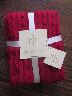"""Lauren Ralph Lauren 100% Cotton Cable Knit Throw Blanket Deep Red 50""""x70"""" NWT #LaurenRalphLauren"""