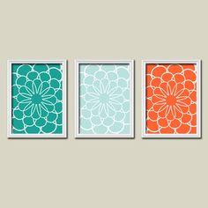 Flowers Flourish Floral Teal Aqua Orange Sea Tones Pattern Artwork Set of 3 Trio Prints Bedroom Bathroom Wall Decor Abstract Art Picture