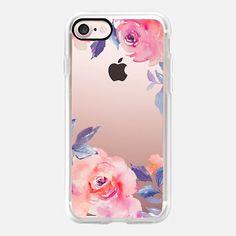 Cute Watercolor Flowers Purples + Blues - Classic Grip iPhone 7 Case