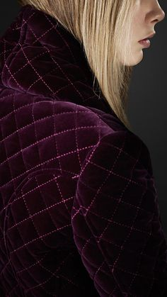 Velvet Quilted Coat - plum color by Burberry Blanket Coat, Velvet Quilt, Velvet Fashion, Purple Fashion, Burberry Prorsum, Shades Of Purple, Dark Purple, Magenta, Mode Inspiration