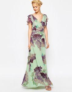 Image 1 ofASOS mint Frill Tea Maxi Dress in Hydrangea Print