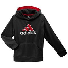 adidas Kids Boy's Tech Fleece (Big Kids) Black/Scarlet MD (10-12 Big Kids). This boys' fleece hoodie delivers iconic adidas style in cozy form. PRODUCT FEATURES Moisture-wicking Ribbed trim & cuffs 1 front pocket Long sleeves FABRIC & CARE Polyester Machine wash Imported.