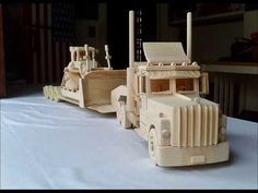 Rig and Lowboy Trailer Wood Toys Plans, Peterbilt 389, Lowboy, Rigs, Wooden Toys, Woodworking, Youtube, Planters, Mac