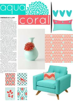 """""""Perfect Pallet #aqua #coral #interiordesign #polyvore #spring #home"""" by ket0798 on Polyvore"""