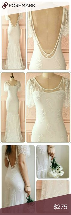 """NWOT Snow queen gown / wedding gown ( S M ) MOVING SALE!    GORGEOUS gown perfect for wedding, prom, & any formal events. Super sexy low back. All over lace. Delicate & so feminine. 100% nylon ; lining 100% polyester.   This dress is 90% identical to the $500 free people Sophia lace dress, which is sold out.   S: 34-30-36 Approx length 64"""" Approx sleeve length 8""""   M: 36-32-38 Approx length 65"""" Approx sleeve length 8 1/2""""    Ⓜ spell and the gypsy collective, stone cold fox, for love and…"""