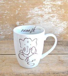 Ganesh Namaste Lotus Mug, 12 oz Yoga Coffee Cup, Peaceful Tea Mug, Ready to Ship Namaste Yoga, Yoga Meditation, Yoga Tattoos, Yoga Accessories, Tea Mugs, Mug Cup, Coffee Cups, Elephant, Just For You