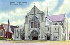 1940's postcard. Central Lutheran Church, Minneapolis, MN