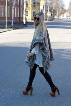 Shawl and heels