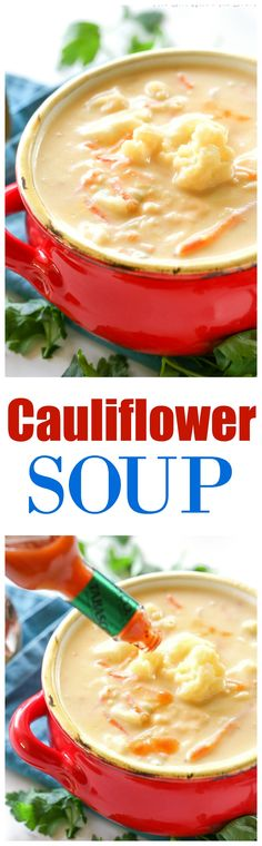 Cauliflower Soup - creamy soup filled with vegetables to warm you on a chilly night. the-girl-who-ate-everything.com