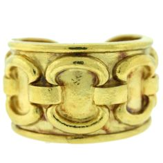 David Webb Hammered Gold Chain Cuff Bracelet | From a unique collection of vintage cuff bracelets at https://www.1stdibs.com/jewelry/bracelets/cuff-bracelets/