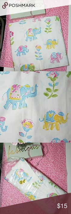 Pottery Barn Crib Fitted Sheet/New in bag Cute white with colored Elephants and flowers Brand new. never used pottery barn Other