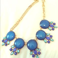 Blue and green necklace Statement necklace Accessories