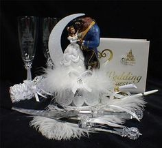 Disney Beauty and the Beast Wedding Cake Topper LOT Glasses knife book Fairytale