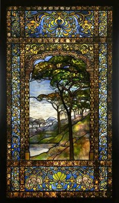 Louis Comfort Tiffany - Landscape Window, Leaded Glass, Pebbles - Stunning ***I never cared for Tiffany glass until I saw it in person in Winter Park, Fl. Tiffany Glass, Tiffany Stained Glass, Stained Glass Art, Stained Glass Windows, Tiffany Art, Art Nouveau, Art Design, Glass Design, Mosaic Art