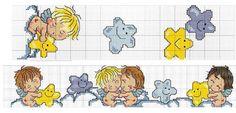 Angeli e Stelline lenzuolino copertina baby punto croce