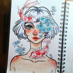 Ugh. #watercolors #watercolor #sketch #sketchbook #doodle #drawing #artsharingpage #anime