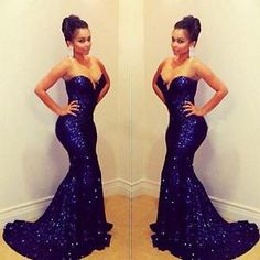 Gloss Strapless Blue Fish Tail Sequined Gowns HIP Women Sexy Evening Dress BY | eBay