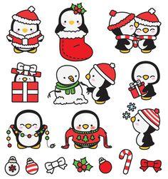 Premium Vector Clipart Kawaii Navidad pingüinos Linda