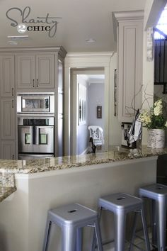 shanty2chic kitchen AMAZING! Totally painting my cabinets gray someday! Coastal villa by Valspar