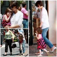 Actress - atriz - actriz - hair - cabelo - pelo - beautiful - bonita - hermoso - moda - look - style - estilo - inspiration - inspiração - inspiración - fashion - vestido listrado - Splendid Littles Striped Dress - stripes - listras - Gold Shoes - Bonpoint - sapato dourado - silver - prata - jeans - casual - child - criança - niña - menina - girl - Princess - princesa - baby - bebê - daughter - filha - hija - mother - mãe - madre - mom - mamãe - mamá - july - 2008 - Katie Holmes - Suri…