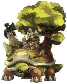 Torterra - the continent Pokemon. See the Easter egg?: