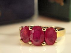 Solid Gold Triple Ruby Ring, Ruby Gold Dress Ring, Size 4 3/4 on Etsy, $294.12