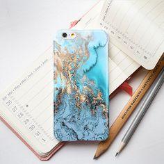 Blue Gold Marble iPhone 6 Case iPhone 5S Case door PinkPiggyStudio