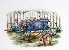 Blue Wheelbarrow...Paula Vaughan
