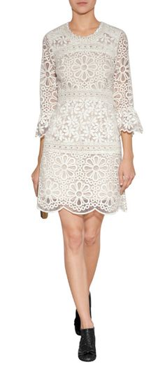 Lend a retro look to your cocktails collection with this bright crochet lace shift from Anna Sui #Stylebop