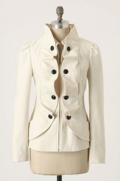"""Anthropologie Cream Confection Jacket (in white) -  An undulating ribbon of icing trims fondant wool, decorated with bonbon buttons. By Idra.  Front pockets. Front zip. Wool, polyester, rayon, other fibers; cotton, polyester lining. Dry clean only. 24""""L. Imported. Style #: 18652719"""