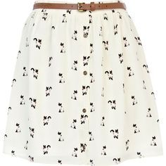 River Island Cream cat print belted button through skirt ($38) ❤ liked on Polyvore