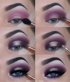 Eye Make-up - Purple Eyeshadow Tutorial Purple Eye Makeup, Glitter Eye Makeup, Makeup For Green Eyes, Natural Eye Makeup, Eye Makeup Tips, Makeup Hacks, Smokey Eye Makeup, Makeup Inspo, Eyeshadow Makeup
