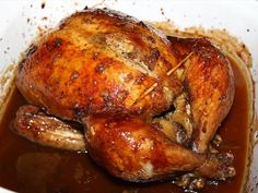 This is a great tasting roasted chicken recipe we really enjoy. The maple and garlic go well together. The skin turns out crispy and delicious, you cannot resist peeling it off the flesh and eating it all up. The flesh turns out moist and flavourful.