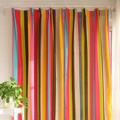 Custom Colorful Cotton Striped Curtains For Kids