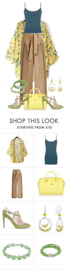 """Yellow Kimono"" by stormysmom on Polyvore featuring WearAll, Sea, New York, Patrizia Pepe, Valentino and Croft & Barrow"