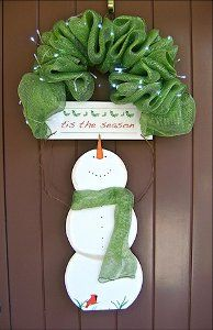Decorate your door with a darling snowman craft! This Tis the Season Snowman Door Hanger is a fabulous alternative to a traditional Christmas wreath.