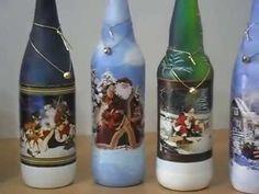 Botellas navideñas Hechas artesanalmente en pintura acrílica, con imagenes navideñas en decoupage como base, (découpage: tiene su origen en la palabra france...